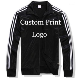 Wholesale customize jackets resale online - custom Made Sportswear Jackets Custom loose Jacket DIY Logos screen Embroidery print customized Print Tracksuit Printed HY1