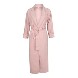 Wholesale pink trench for sale - Group buy Apperloth Autumn Winter Women Trench Coat Long Sleeve Open Stitch Loose Coat with Belt Office Ladies Trenchs Pink gabardina
