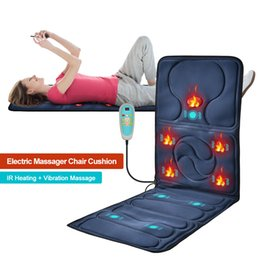 seat back massager 2021 - Electric Heating Vibrating Back Massager Mat Infrared Treatment Cushion Seat Pad Full Body Massage Chair Home Office RelaxationR