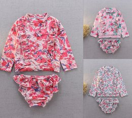 Wholesale swimming shirts resale online - Baby Girl Swimwear Set Pieces UV Sun Protect Flower Printed Shirt Brief Swim Bathing Suit Colors