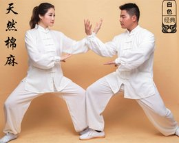Wholesale performing arts resale online - Tai Chi Cotton Linen Long Sleeve Spring and Autumn Taiji Boxing Perform Morning Exercises Practicing Wushu Exercise Clothing