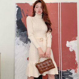 Wholesale womens sweater dresses for sale - Group buy Womens Winter Korea Slim Knee Length Turtleneck Female Bodycon Sashes Solid Fishtail Knitted Sweater Female Casual Dress