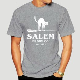 Gato de Halloween Salem escoba Co. Est 1692 T-Camisa-4670D
