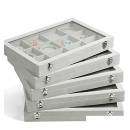 Ice Gray Velvet Jewelry Tray Glass Lid Jewelry Boxes Ring Tray Necklace Earrings Bracelets Loose Beads Jewelry Display Stand C4Pne on Sale