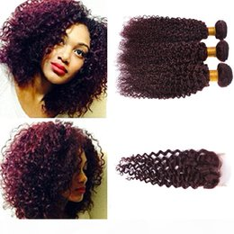 burgundy curly human hair weave NZ - Burgundy Lace Closure Curly Wave Brazilian Human Hair Wine Red Raw Curly Ocean Wave 99j Hair Extension Weave Wavy Bundles With Closure