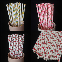 Disposable Straw Kraft Paper Drinks Paper Cartoon Fruits Straws Environmental Protection Party Decorate Pineapple Hot Sale 0 04ys M2 on Sale