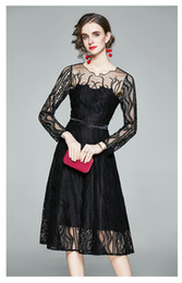 Discount sexy nice long dress Fashion New Mesh and Lace Patchwork Dresses O-Neck Long Sleeve Sexy Sheer Lady's Spring Dress Nice Casual Sliming Dresses