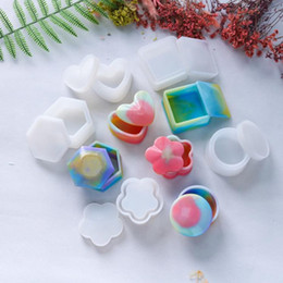 Discount wholesale epoxy resin jewelry Storage Box Mold DIY Crystal Epoxy Resin Silicone Molds Jewelry Epoxy Casting Moulds with Lids Jewelry Tools Heart Hexagon Round Square Y683