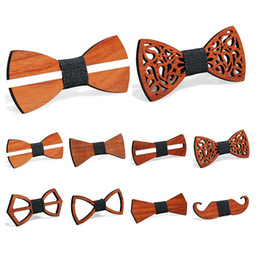 Wholesale Vintage Red Rosewood Bow Ties Manual Hollow Out Bowknot For Gentleman Wedding Wooden Bowtie Fasion Accessories 9 Styles