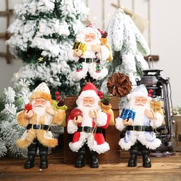 Discount socks wholesalers europe New Christmas Ornaments Resin Santa Claus Ornament Standing Posture Small Doll Ornament Doll Pendant Wholesale Europe and America Wholesale