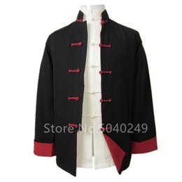 traditional chinese clothes kung fu Canada - Tang Suit Top Men Shirt Long Sleeve Jacket Cardigan Traditional Chinese Cotton Stand Collar Buckle Kung Fu Clothing