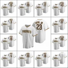 San Diego.Padres 23 Fernando Tatis Jr. 13 Manny Machado 19 Tony Gwynn Homens Mulheres Juventude Custom White BrownRéplicaHome Jersey. em Promoção