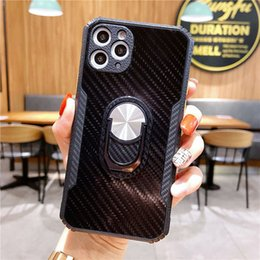 customized finger rings 2021 - Carbon Fiber Texture Finger Ring Kickstand Phone Case For iPhone 12 11 Pro Max Xr Xs Max 7 8Plus with Lens Camera Protection