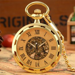 Wholesale Luxury Golden Skeleton Mechanical Hand Winding Pocket Watch Roman Numerals Display Open Face Vintage Clock for Men Women Pendant Chain