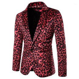 Discount men leopard suits Brand Men's Red Leopard Print Nightclub Suit Jacket Party Wedding Tuxedo Blazer Men Stage Cothes for Singers Costume Homme XXL1