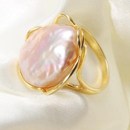 baroque rings NZ - Pearl Ring Natural Fresh Water Pearl For Women Big Size Baroque Irregular Pearl Ring Adjustable Jewelry Gift Z1118