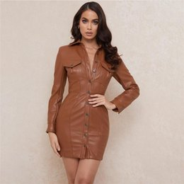 bodycon pu kleid großhandel-Offene zurück elegante kleid frauen frühling herbst pu leder bodycon kleid mode long sleeve shirt stil sexy club braun vestidos