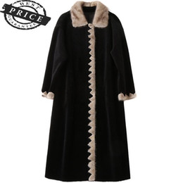 Wholesale shearing coats resale online - Real Luxury New Wool Fur Coat Female Plus Size Sheep Shearing Coats Natural Trim Collar Long Winter Jacket Women