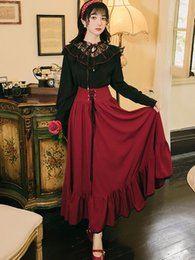 Wholesale vintage two piece outfits for sale - Group buy Large Size Women Two Piece Outfits Autumn Spring Vintage Lace Embroidery Black Shirt Top Red Long Maxi Skirt Matching Set