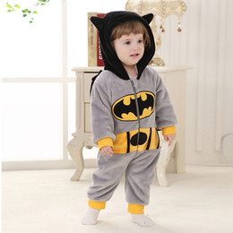 baby boy batman clothing UK - Winter Baby Super Hero Batman Clothing Long Sleeve Hooded Baby Rompers Jumpsuits for Boy Girl Infant Overalls C0126