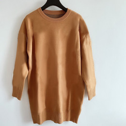 Wholesale color khaki resale online - Women Casual Long Sweater Classic Pure Color Letter Pattern Womens Knitted Tops Autumn Winter Fashion Sweater Dresses Best Sale