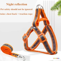 Wholesale paw print set online – oversize Reflective Movement Adjustable Nylon and Set Paw Printing Pattern Dog Chest Harness Pet Leash