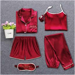 Wholesale pajamas for women resale online - Strap Sleepwear Pyjamas Women s Pieces Pink Pajamas Sets Satin Silk Lingerie Homewear Sleepwear Pyjamas Set Pijamas For Woman T200110