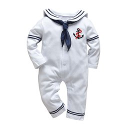 white navy uniforms UK - Infant Clothing Baby Boy Girl Romper White Navy Sailor Uniforms Unisex Long Sleeve Jumpsuit Autumn Newborn Baby Clothes Y1219