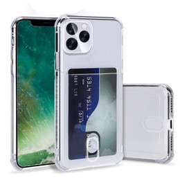 Porta carte Airbag TPU Case ID Custodia con carta di credito Soft Cover per iPhone 12 Pro Max 11 xs XR 7 8 Plus Coque trasparente