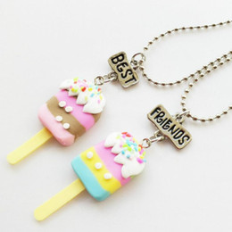 "necklaces best friend forever UK - 2PCS Set Friendship Candy Cream Stereo Imitation BFF Necklace For Children ""Best Friends Forever"" Jewelry1"