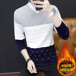 shirt youth Australia - [Shirt collar] autumn and winter plus velvet thick sweater men's fake two-piece sweater men's youth korean fashion warm