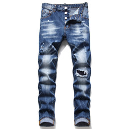 Wholesale slim leg jeans men for sale - Group buy Men Ripped Slim Fit Jeans Fashion Skinny Straight Leg Washed Mens Frayed Motocycle Denim Pants Hip Hop Stretch Biker Men s Trousers