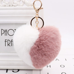 Discount bags monkey Love Heart Pompom Ball Plush Toy With keychain for Women Purse Bag Charm Pendant Pom Pom Round Ball