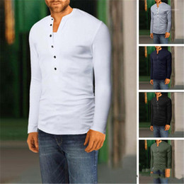 new trend mens t shirts Canada - Male New Slim Tshirt Mens V Neck T-shirt Fashion Trend Solid Color Long Sleeve Casual Buttons Decoration Tops Tees Spring