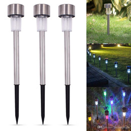 Discount color changing solar path lights UK Stock 10Pcs Outdoor Stainless Steel Solar Power 7 Color Changing LED Garden Landscape Path Pathway Lights Lawn Lamp