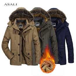 mens fur lined winter NZ - Thick Winter Men's jacket Fur Lined Mens Coat Warm Windproof Hooded Men Parka Overcoats Plus Size Winter Men's Clothing 6XL 201120