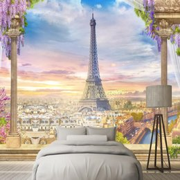 tower wallpapers UK - European Style Wallpapers 3D Flowers Tree Wall Murals Nature Landscape Photo Eiffel Tower Walls Paper for Living Room Home Decor