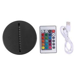Ingrosso Cavo USB Touch 3D LED Holder Holder Lampada Base Night Light Sostituzione 7 Colori Basi da tavolo colorato Basi da tavolo