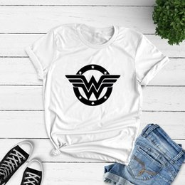 Wholesale superheroes t shirts for sale – custom Summer Cotton Women T shirt Anime Wonder Woman T Shirt Superhero Tee Femme Feminist Printed Harajuku Manga Tshirt