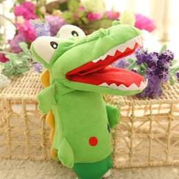 Wholesale shark puppet resale online - Plush Hand Puppets Crocodile Shark Frog Toy Mouth Movable Kindergarten Home Interactive Kids Adults Stuffed Puppets Props bbyZgt