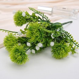plastic green grass balls Australia - 2pc Artificial Flower Feel Ball Plastic Green Plant Wholesale Wedding Decoration Shooting Props Water Grass Ball Chrysanthemum