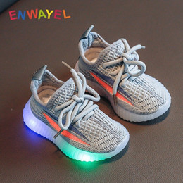 Wholesale shoes children shining resale online - ENWAYEL sport shoes led for girls sneakers kids boys bebe toddler baby children shoes with light luminous shining glowing