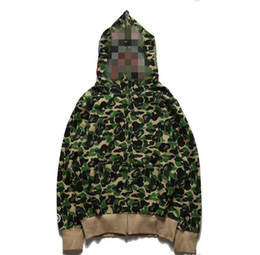 kapuzenjacke großhandel-Herrenhai Shark Druck Camo Kapuze Hoodies Teenager Tier Tarn Strickjacke Hoodies Jacke Mode Hip Hop Skateboard Hoodie