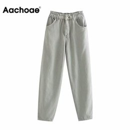 Wholesale paperbag pants for sale - Group buy Aachoae High Waist Jeans Women Paperbag Pants Streetwear Elastic Pleated Waist Denim Trousers Casual Long Pocket Mom Jeans A1112