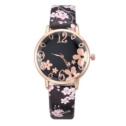 elegant woman watches Australia - Women Wristwatch Flowers Embossed Watches Elegant Female Leather Quartz Wrist Watch Woman Casual Ladies Watch Montre Femme