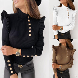 Wholesale ladies winter blouses resale online - Women Sexy Slim Ruffle Shirt Blouse Office Lady Casual O Neck Ribbed Tops Pullover Autumn Winter Butterfly Long Sleeve Blusas