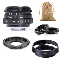 lens hood adapter Canada - Mini 35mm f 1.6 APS-C CCTV Lens+adapter ring+2 Macro Ring+lens hood for SONY NEX Mirroless Camera A5300 A6000 A6300 A7 A7II A9
