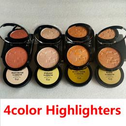Marka HighLighters 4 Renkler Glow Tozu 4 Renkler Elmas Bronz Vücut Vurgulayıcı Toz Yüz Makyaj Parlatıcı Vurgulama Preslenmiş Toz