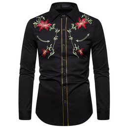 Wholesale shirts for tuxedos for sale - Group buy Floral Embroidery Tuxedo Shirt Male New Slim Fit Long Sleeve Mens Dress Shirts Chemise Homme Wedding Party Shirt For Men