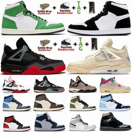 x verdrillten großhandel-Größe Mit Box New White Sail X Bred Black Cat s Basketballschuhe Jumpman s Dark Mocha Travis Scotts Lucky Green Twist Panda Herren Turnschuhe Trainer